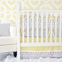 Caden Lane Gray and Yellow Mod Crib Bedding Swatch Kit