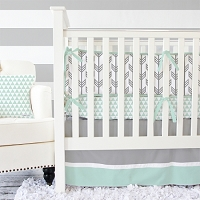 Caden Lane Mint & Gray Arrow Baby Bedding Swatch Kit