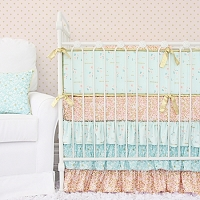 Caden Lane Coral and Gold Sparkle Baby Bedding