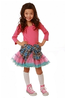 OOh La La Couture Candy Pink/Blue Plaid Tied shirt Poufy Dress