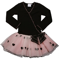 OOh La La Couture Black/Blush Hearts Mock Wrap Dress