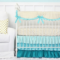 Caden Lane Aqua and Gold Dot Ruffle Baby Bedding Swatch Kit