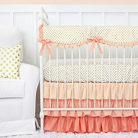 Caden Lane Coral and Gold Dot Ruffle Baby Bedding Swatch Kit