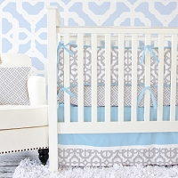 Caden Lane Gray and Blue Mod Crib Bedding Swatch Kit