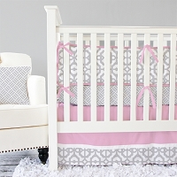 Caden Lane Gray and Pink Mod Baby Bedding