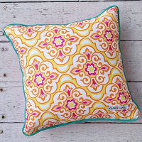 Caden Lane Lily Pad Yellow Square Pillow Cover