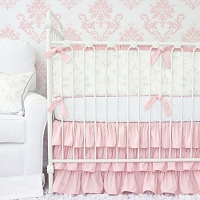 Caden Lane Lovely Damask Baby Bedding Swatch Kit Vintage Gray & Pink