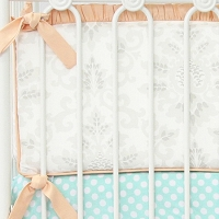 Caden Lane Lovely Damask Vintage Gray & Peach Bumpers