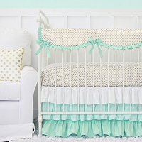 Caden Lane Mint and Gold Dot Ruffle Baby Bedding Swatch Kit