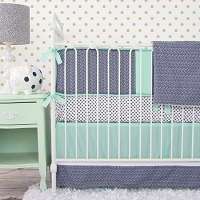 Caden Lane Mint and Navy Chevron Baby Bedding Swatch Kit