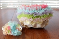 Whimsical Rainbow Tulle Ruffle & Lace Tea Stained Diaper Bloomer