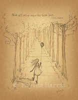 Vintage Sketch Study of little girl walking into the woods -