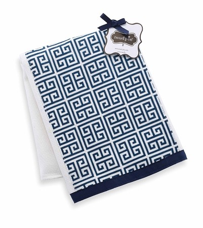 Mud Pie Navy Greek Key Burp Cloth